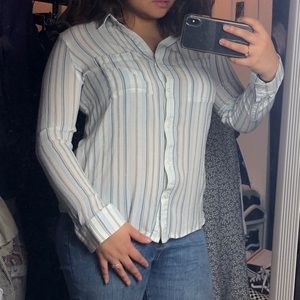 BP Striped Button Up Long Sleeve Blouse